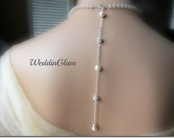 Wedding Jewelry Pearl Backdrop Necklace Rhinestone and Pearl Necklace Backdrop jewelry Bridal Pearl Jewelry Fireball Pearl Backdrop add on