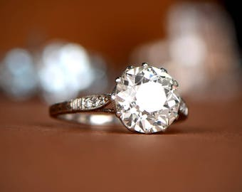 2.95ct Solitaire Old Mine Cut Diamond Engagement Ring - Estate and Vintage Old European Cut Diamond