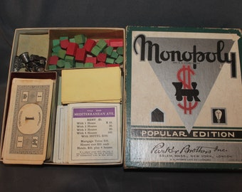 Antique Parker Bros 1935 Popular Edition #8 Monopoly Game No Board Great Box