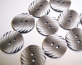 """16 Black and Gray Swirled Small Round Buttons. Size 9/16"""""""