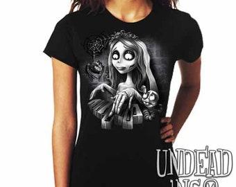 Corpse Bride Maggot Black Widow Piano  - Ladies T Shirt Tim Burton Black Grey