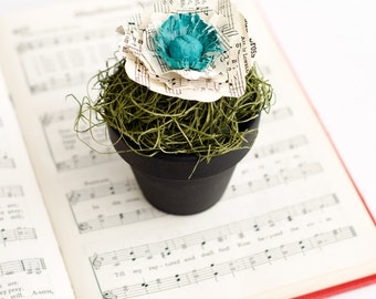 Book Page Poppy in Chalkboard Flower Pot with Moss - Office Decor - Teacher Gift - Librarian Gift - Guest Favor for Bridal or Baby Showers