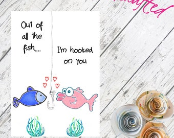 Out Of All The Fish // Hooked On You  // Fish // Anniversary // Valentines // Watercolour Card // Custom // Drawing