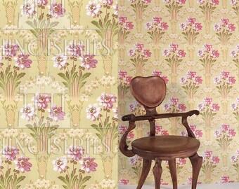Dollhouse Miniature Wallpaper, Aubrey, Scale One Inch
