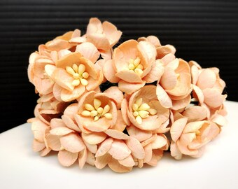 50 pcs. peach Cherry Blossoms flowers mulberry paper for Crafts 2.5 cm. #135