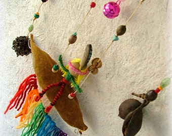 Celebrating spring - OOAK baby doll  mobile -rainbow magic swinging girl eco friendly nursery room decor