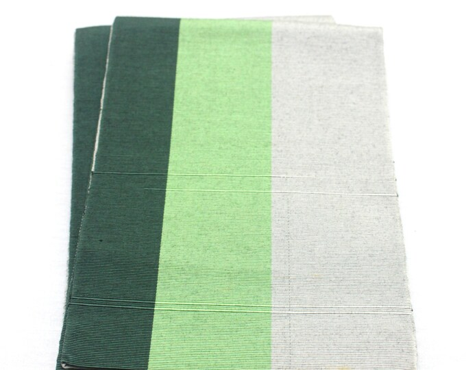 Japanese Obi. Striped Woven Silk Textile. Green Gray Mint Shades (Ref: 1569)