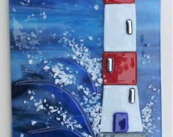 Lighthouse, fused glass picture
