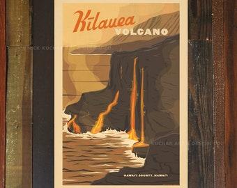 Kilauea Volcano - 12x18 Retro Hawaii Travel Print