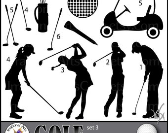 GOLF set 3 - digital clipart graphics 11 png files silhouettes club players golfers tee golf bag ball cart [ INSTANT DOWNLOAD ]