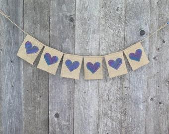 Heart Bunting, Burlap Banner, Valentines Day Decor, Heart Garland, Baby Shower Bunting, Photo Prop, Wedding Banner, Love Banner