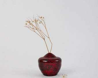 Vintage Studio Pottery Miniature Vase - Red Weed Pot - Signed Ceramic Bud Vase Studio Art Pottery