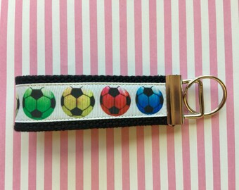 Sports Fun Wristlet Key Chains Ribbon Cotton Webbing 1.25 Inch Key Fob