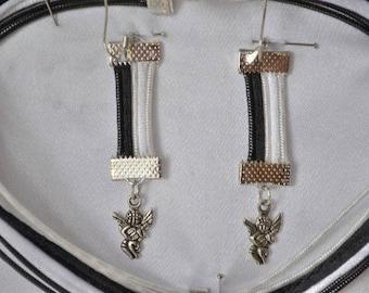 black and white Angel earrings
