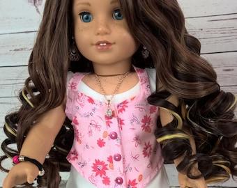 """Custom 10-11"""" Doll Wig Fits Most 18"""" Dolls """"Ruby French Roast""""- Heat Safe"""