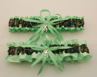 Mint and Camouflage Wedding Garter Set with Deer Deco, Mossy Oak, Bridal Garter  (Your Choice, Single or Set)