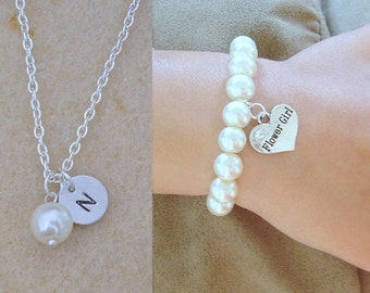 Flowergirl charm bracelet gift and Initial and Pearl Flowergirl Necklace, Flower girl gift