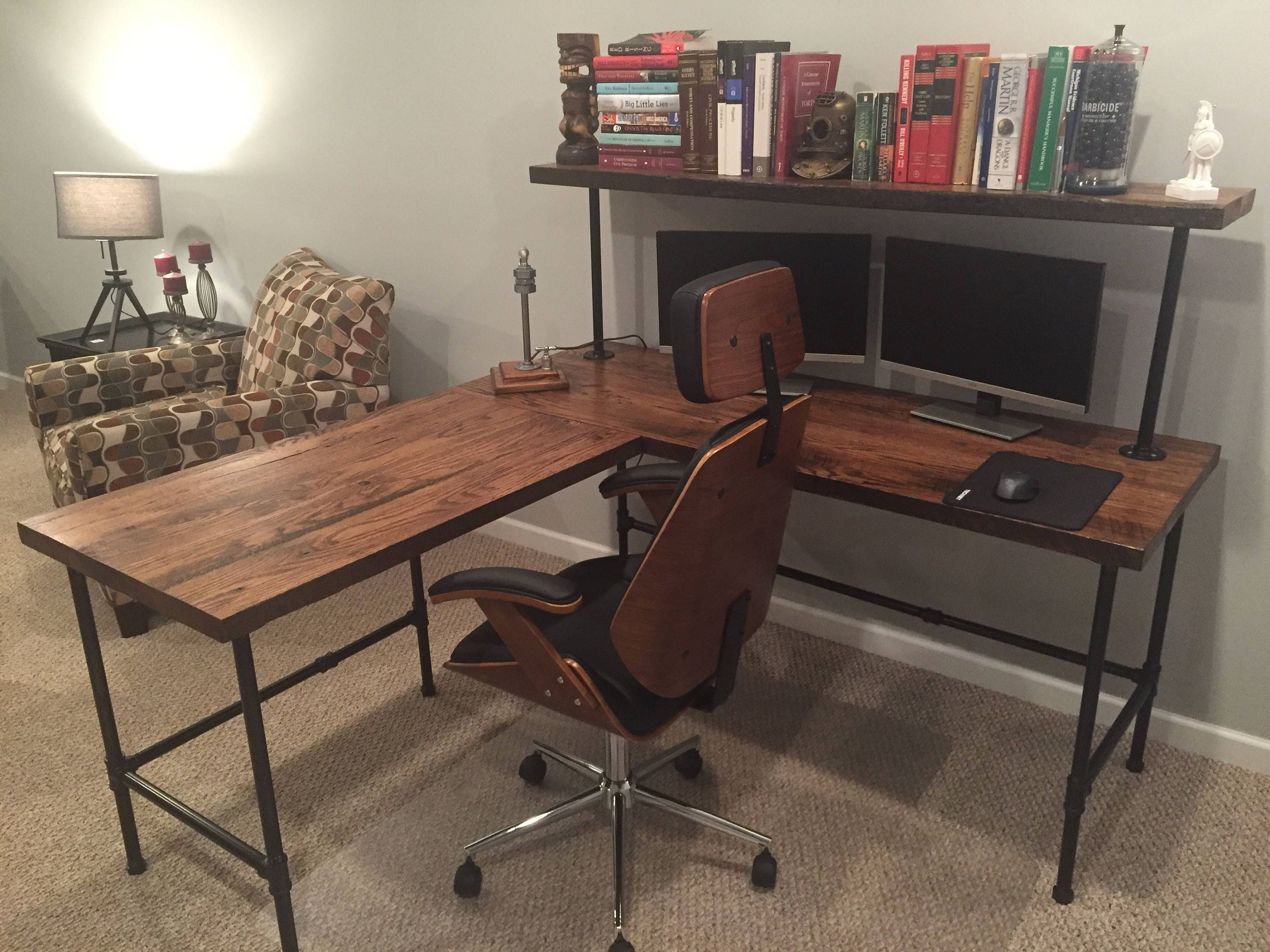 Corner Desk Reclaim Wood Desk L Table Solid Oak W 28