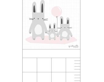 Barre pour pépinière - enfants de lapin rose