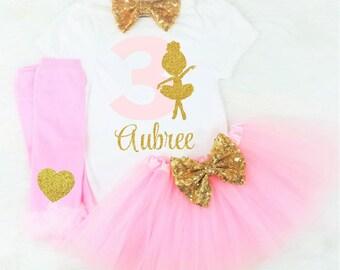 girls third birthday outfit girls 3rd birthday outfit ballet 3rd birthday outfit ballerina third birthday outfit pink and gold third