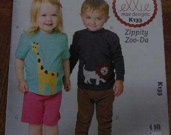 Zippity Zoo-Da Toddler's Top, Shorts and Pants Pattern,ellie mae designs from Kwik Sew