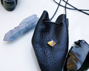 Leather Medicine Bag, Crystal, Keepsakes, Dark Talisman Pouch or Hippie Necklace in Black Goatskin