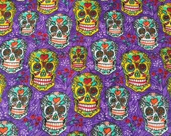 Fabric cotton, pattern skulls or sugar skull, calaveras/mexico, halloween, coconut, bones, fabrics, Día de muertos mexican film