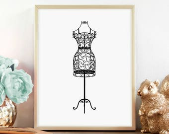 Wrought Iron Black Dress Form Print, Mannequin print, Bedroom Décor, Vintage Décor, Digital Print, Instant Download, Printable Art