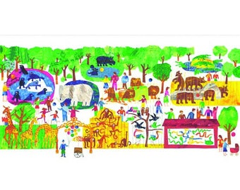 Zoo Fabric, Children's Zoo, Day at the Zoo -  1 2 3 to the Zoo by Eric Carle for Andover Fabrics 8238 X - Priced by the 24-Inch Panel