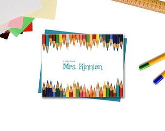 Personalized Note Cards - Teacher Appreciation Gifts - Colored Pencils Note Cards - Teacher Gifts - Set of 10 Custom Note Cards for Teachers