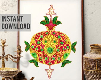 Printable Art, Traditional Turkish Pomegranate Watercolor Painting, Ottoman Floral Pomegranate Design Wall Art, Digital Download 024