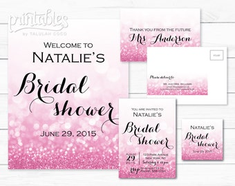 Bridal Shower Invitation Package, Glitter Pink Bridal Shower Invitation Suite, Rose Gold Bridal Shower Invite, Wedding Shower Invitation DIY