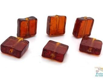 6 beads square Topaz glass translucent 12X12mm (pv664)