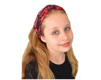 Red Floral Headband  - Knotted Headband - Adult Headband Knot - Boho Wide headband - Top Knot Headband  - Natural Hair - Twisted Headband
