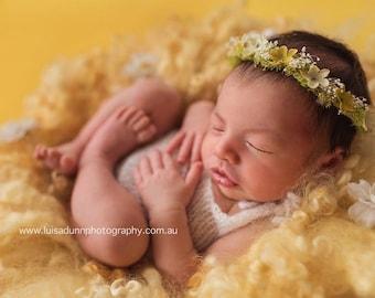 NEWBORN FLOWER CROWN {Ella} Newborn Photo Prop, Floral Crown, Newborn Headband, Newborn Tieback, Newborn Halo, Newborn Photography Props