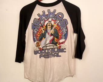Vintage 80's Texxas World Music Festival Concert Shirt Small Heart Reo Speedwagon The Rockets Blue Oyster Cult Foghat