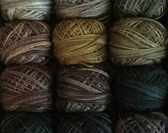 """Valdani Threads - """"A Forest Story"""" - Custom Collection Set/ 12 - 3 Strand Floss Hand Dyed Colorfast"""