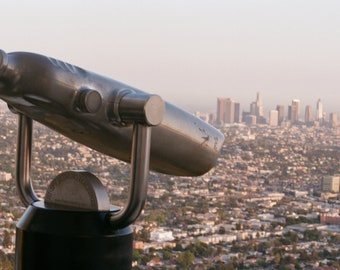 Telescope and downtown Los Angeles, color photograph