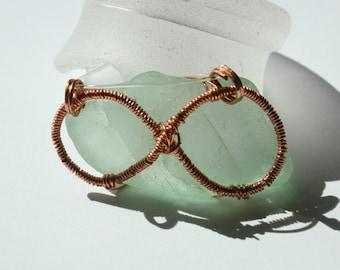 Aqua Infinity Sea Glass Necklace Copper Blue