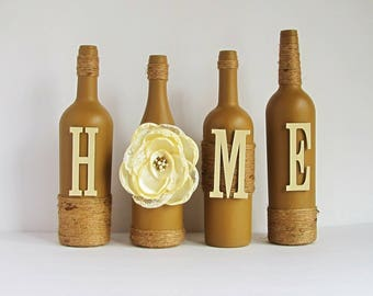 Brown Home Wine Bottle Set, Home Bottle Set,  Rustic Bottle Set, Twine Wrapped, Painted Bottles, Wine Bottle Decor, Country Decor
