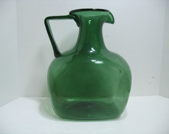 Blenko ? Giant Jug Pitcher in Green, Vintage Mid Century Art Glass, Large Water Pitcher, Free Shipping