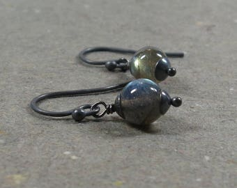 Labradorite Earrings Oxidized Sterling Silver Gift for Her Petite Minimalist Earrings