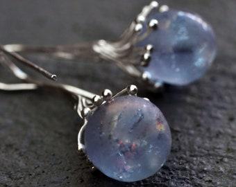 Lampwork earrings/ Artisan lampwork beads and silver earrings /silver/ Ice - Winter Tale - Glass Earrings