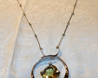 Handmade, Sterling Silver and Smoky Topaz Necklace. Signed & Dated!