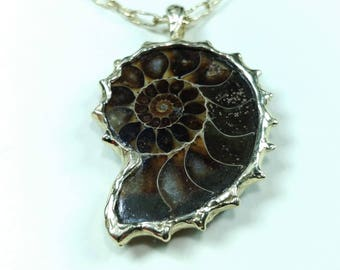 Pendant made of ammonite fossil and 0,585 gold