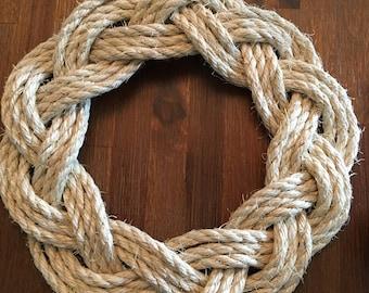 """3/8"""" Sisal Turk's Head Knot Wreath"""