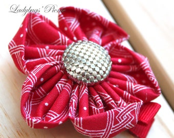 Hair Clip - Red Fabric Flower with Button Accent