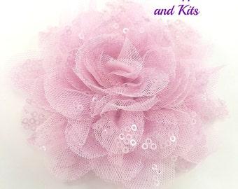 """4"""" Light pink sequin fabric flower - Pink sequin flower"""