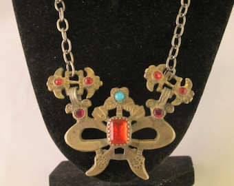Antique Afghan Bow Shaped and Bejewelled  Necklace