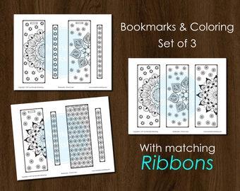 Bookmark Coloring Mandala Bookmark Set Color  DIY Bookmark Bookmarks for books Bookmark Personalized Bookmark Mandala Printable Bookmark
